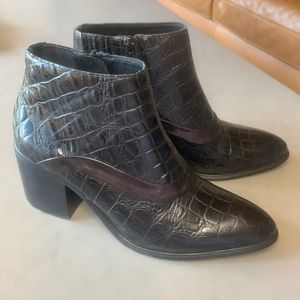 Jeffrey Campbell Croc Embossed Leather Bootie 7.5